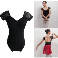 Ballet Dance Leotards Women 2017 New Black Short Sleeve Gymnastics Dancing Wear Adult Cheap Ballet Leotard