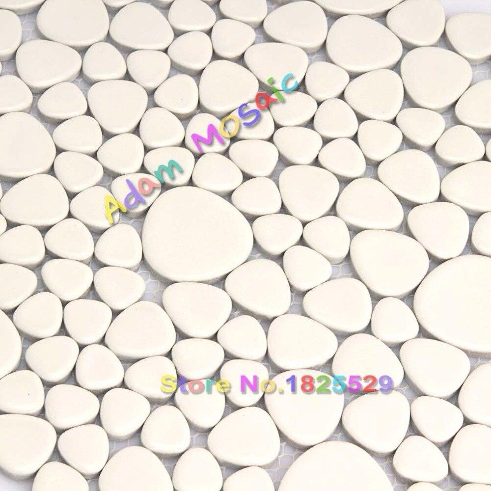 Super White Pebble Tile Backsplash Kitchen White Mosaic Shower Room ...