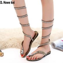 35d17a555e1b91 plus size 42 2018 new fashion women sandals woman rhinestone Gladiator  Sandal shoes Snake Flat with