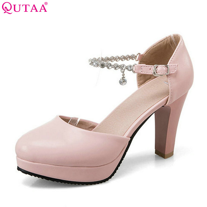 QUTAA 2017 Women Pumps Square High Heel PU leather Pointed Toe Black Crystal Platform Elegant Ladies Wedding Shoes Size 34-43 qutaa 2017 black women pumps thin high heel pointed toe summer genuine leather elegant white ladies wedding shoes size 34 39