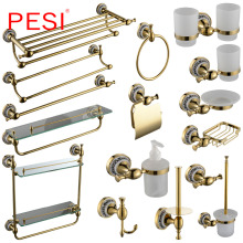 All Brass Bathroom Hardware Set Robe Hook Towel Rail Rack Bar Shelf Paper Holder Toothbrush Holder Bathroom Accessories,Gold.