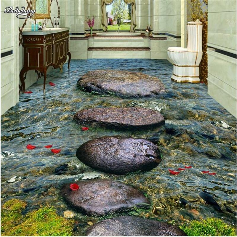Beibehang Custom Large Fresco Stone River Water Bath 3d