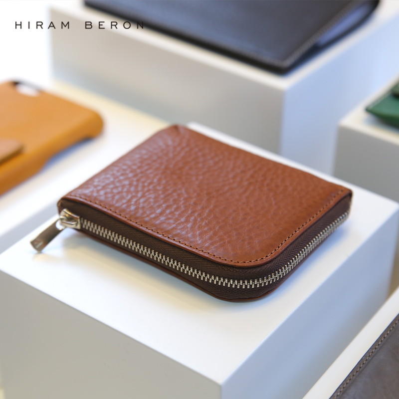 Hiram Beron Coin Pung Solid Leather Mini Wallet Glidelås Liten Purse Grønn Solbrun Lær Gratis Custom Men Purse med Box
