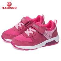 Бренд фламинго, дышащая детская спортивная обувь на крючках и петлях, кожаные кроссовки для девочек, размер 25 31, 91K NQ 1260