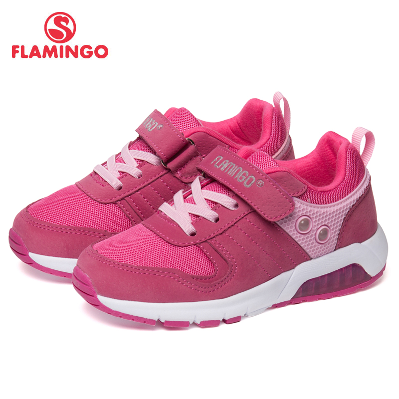 FLAMINGO Brand Breathable Arch Hook& Loop TPR Children Sport Shoes Leather Size 25-31 Kids Sneaker for Girl 91K-NQ-1260 flamingo brand breathable arch hook