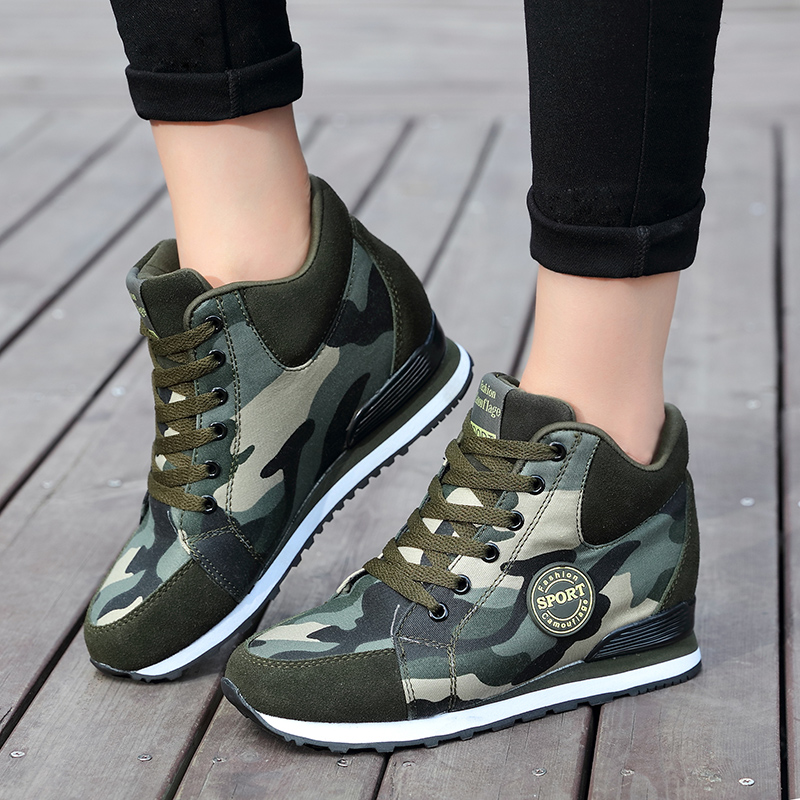 Womens Mixed Color Hidden Heels Sneakers Running Shoes Lace Up Athletic Fashion
