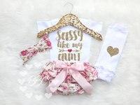 2017 Bodysuit SASSY LIKE MY AUNT White Baby Girls Jumpsuits Onesie Overalls One Piece Elastic