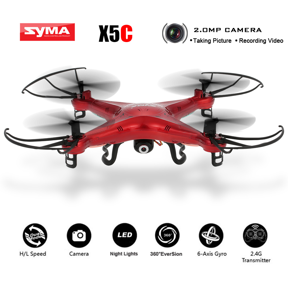 Original X5C Red Custom Version Quadcopter 2.4GHz 4CH 6-Axis RC Aircraft Drone with 2.0MP HD FPV Camera 360 Eversion Brand Dron genuine original xiaomi mi drone 4k version hd camera app rc fpv quadcopter camera drone spare parts main body accessories accs