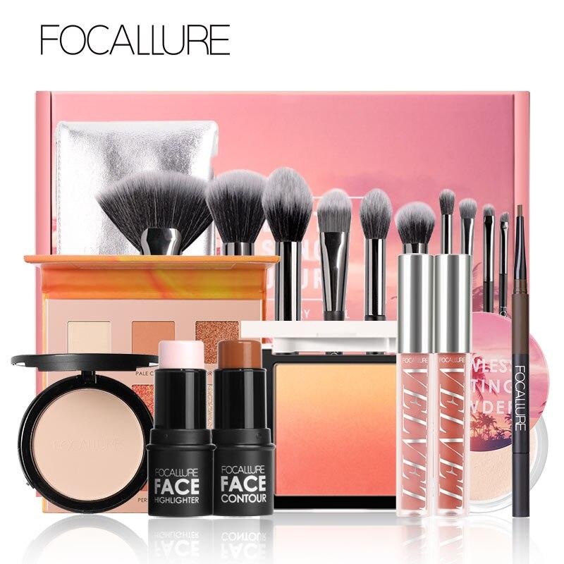 FOCALLURE ежедневный макияж набор 10 шт. отличный подарок для женщин губная помада тени румяна карандаш для бровей