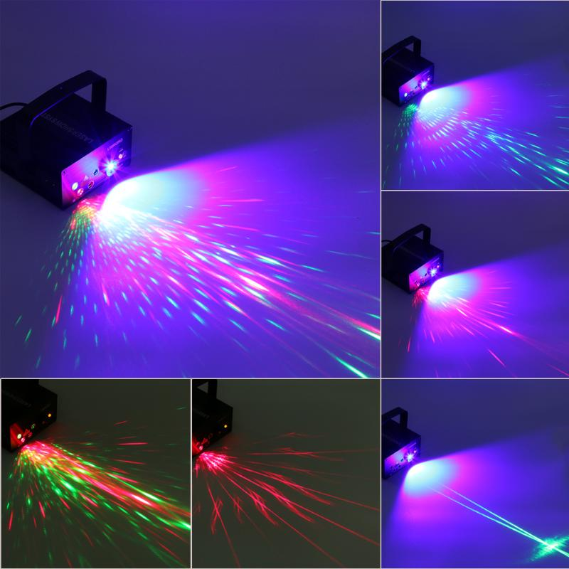 Voice Control RGB Laser Stage Light KTV Wedding Projector Light Party Music Lighting Effect LED Blue Xmas Lights
