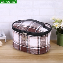 new fashion plaid PU cosmetic bag cases women Professional make up casual travel Organizer box makeup beauty