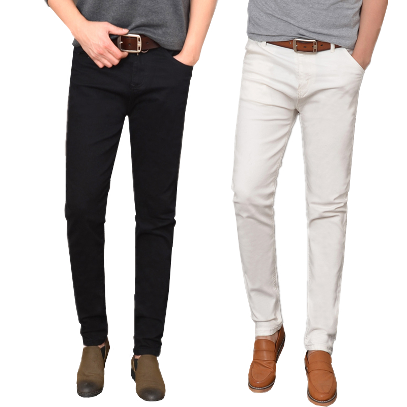 Small Stretch White Man Jeans Size 28 39 30 32 34 36 Black Hot Teen Fashion Casual Mens Trousers Slim Elegant and Comfortable
