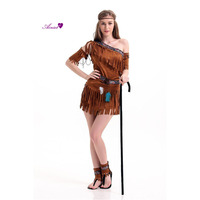 Halloween Costume Ladies Pocahontas Native American Indian West Fancy Dress Sexy Halloween Party Indian Princess Outfit