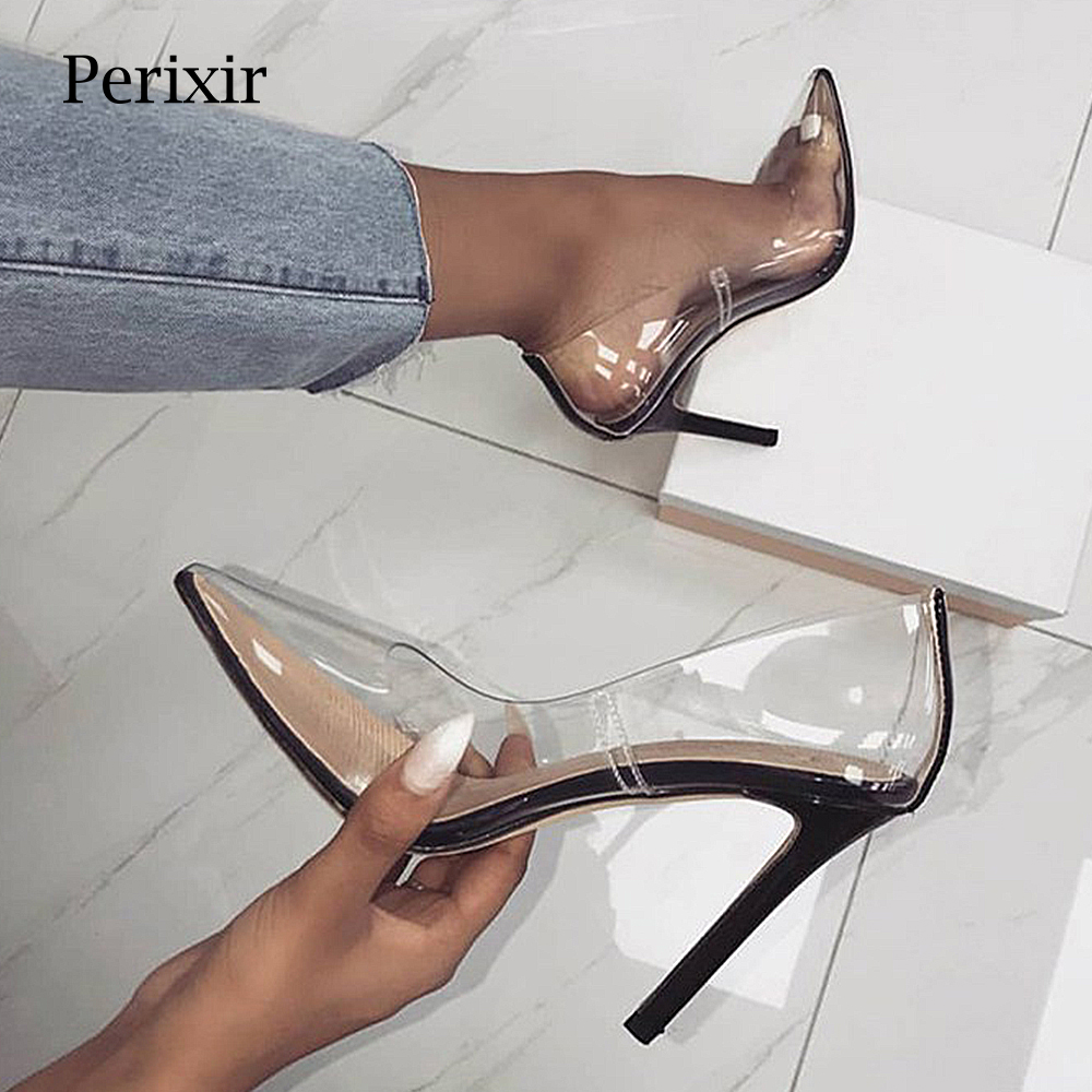 Perixire Women Pumps 2018 Transparent Super High Heels Sexy Pointed Toe Slip-on Wedding Party Shoes For Lady Thin Heels  PumpsPerixire Women Pumps 2018 Transparent Super High Heels Sexy Pointed Toe Slip-on Wedding Party Shoes For Lady Thin Heels  Pumps