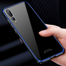 For Huawei P20 Pro Case Luxury Aluminum Metal Bumper for Transparent Clear Glass Cover Plus P20+