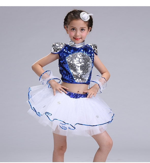 ed28810f3 Children s Jazz Dance Dress Fluffy Skirts Boys and Girls Sequined ...