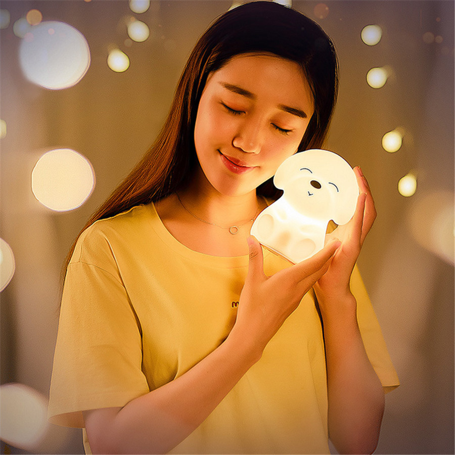 Colorful DOG LED Night Light Animal Light USB Rechargeable Silicone Soft Cartoon Touch light Children Night Lamp Bedroom Light