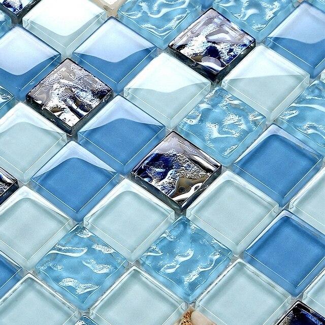 azul color de cristal shell mosaico de azulejos para bao ducha piscina azulejos azulejos de mosaico