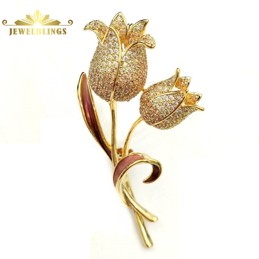Luxury Antique Micro Pave Clear CZ Double Tulip Brooches Gold Tone Twist Stem Enameled Leaf Deco Golden Two Tulip Flowers Pins