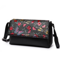 Women S Hand Painted Shoulder Bag Fashion Embossed Satchel Women Bag Chinese Style Small Square Bag