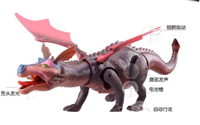 O dragão de fogo elétrico brinquedo animal Simulação dinossauro dragão vermelho asas brinquedo óptico-acústico brinquedos de dinossauros para crianças