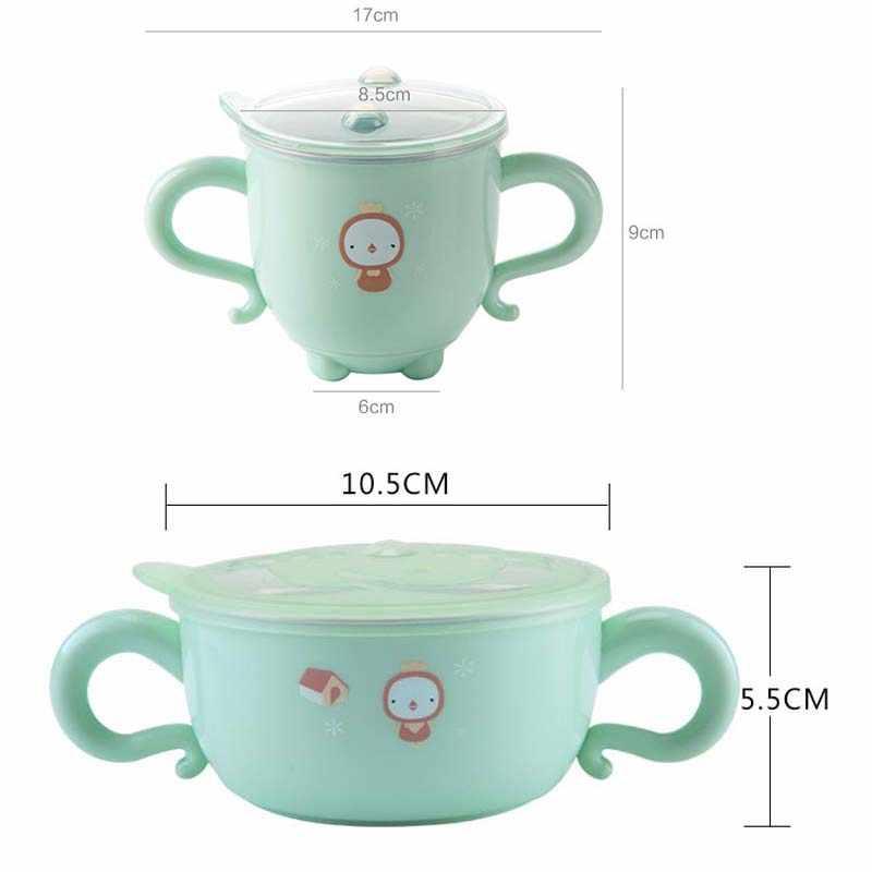 Babyvoeding Kom Roestvrij Staal Cartoon Thermische Isolatie Gerechten Melk Soep Cup Kids Training Bowls Warm Servies