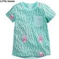 Little maven дети бренд одежды 2016 новые летние девушки с коротким рукавом о-образным вырезом карман тенниски хлопка кролик печать бренда вершины L057