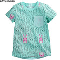 Little maven crianças roupas de marca 2016 novo verão do bebê meninas bolso roupas t camisa de algodão crianças coelho impressão tee tops L057
