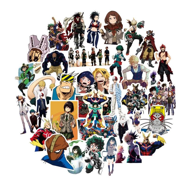 50pcs-pack-my-hero-academia-anime-sticker-skateboard-waterproof-trolley-case-laptop-skateboard-stickers-toys-gifts-for-kids
