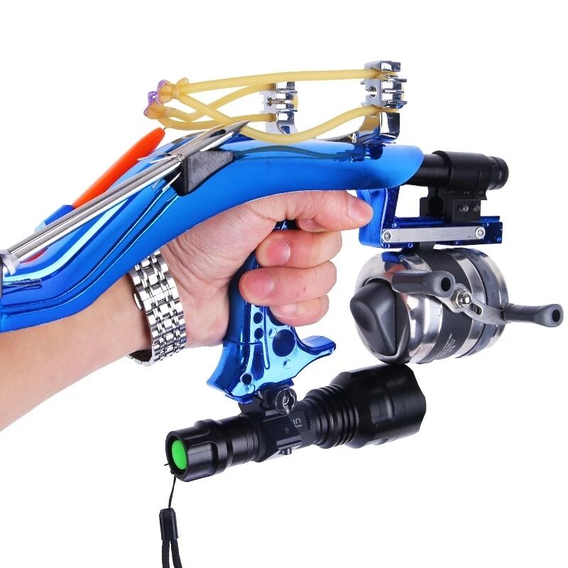 Professional Hunting Fishing Sling Bow Wrist Slingshot With Fishing Wheel Laser Slingshot Night Hunting Fishing Catapult Tools