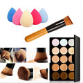 ColorWomen 15 Colors Makeup Concealer Contour Palette+ Waterdrop Sponge Makeup Puff +1pc Cosmetic Cream Foundation Brush 160715