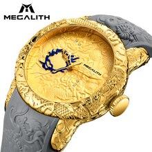 MEGALITH модные для мужчин часы топ Элитный бренд золото скульптура дракона часы для мужчин кварцевые часы водонепроница большой циферблат спортивные ч…