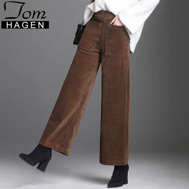 Corduroy Pants For Women Vintage Add Velvet Thicken Trousers Loose Wide Leg Pant Casual Female Black Pants Pocket Bell Bottom