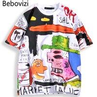 Bebovisi/брендовые футболки; сезон лето; японский стиль; хип-хоп; уличная одежда с граффити; аниме; свободные футболки; хлопковая футболка с коро...