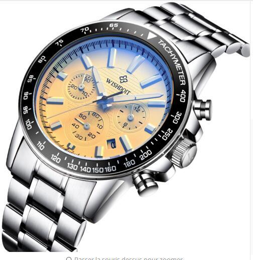 mens montres haut marque de luxe wishdoit quartz montre hommes sport chronographe homme horloge