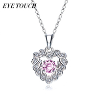EYE TOUCH Dancing Stone Necklace Women Pendants Austrian Rhinestone Charm S925 Sterling Silver Jewelry Fashion White