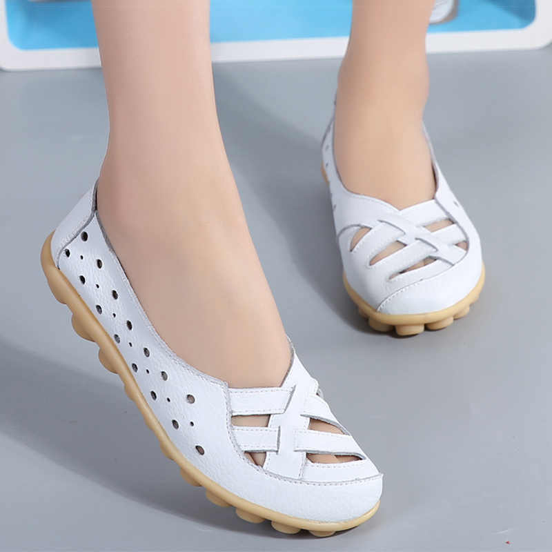 spring shoes women genuine leather shoes fashion casual loafers slip-on round toe solid female shoes plus size 35-44