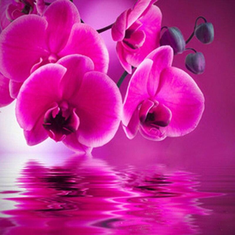 Orhideja moderne smole cvjetne slike DIY 5D okrugli dijamantne slike - Umjetnost, obrt i šivanje