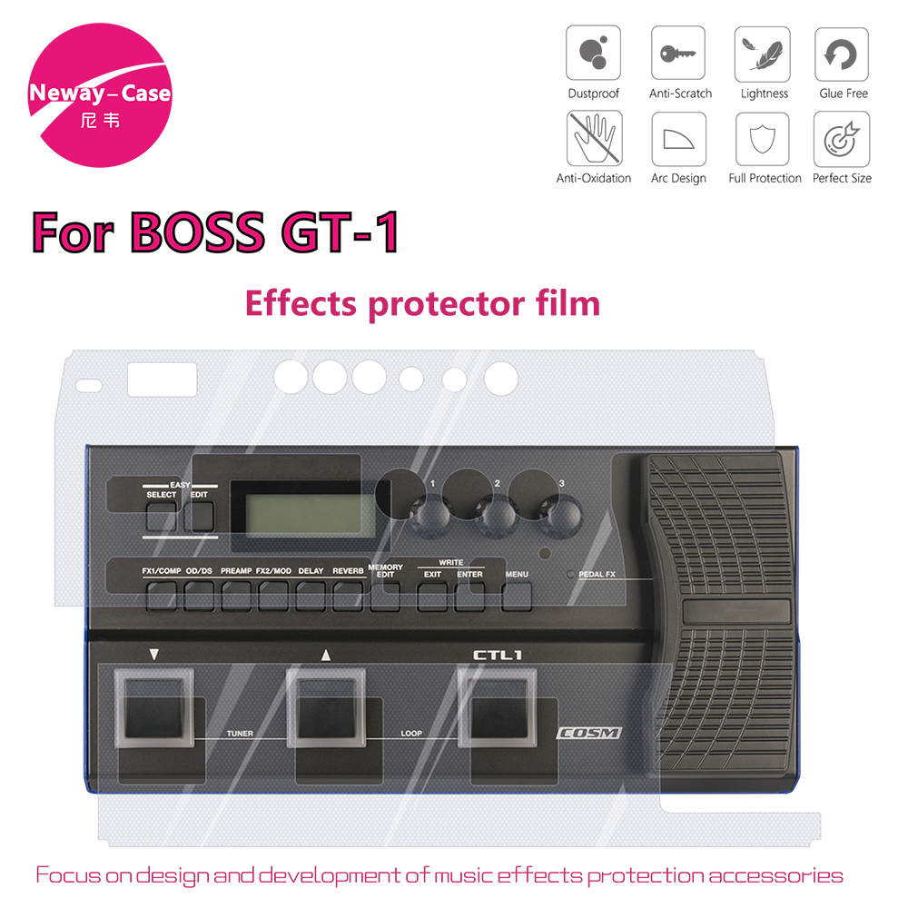 Neway-Case Electric Guitar Effect Protector Film for Boss GT-1 Guitar Effect Pedal Accessories