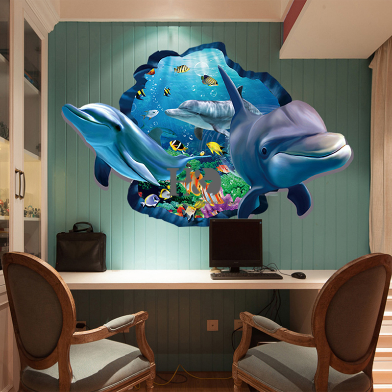Pvc Dolphin Sea Scenes Window View Removable Wall Sticker