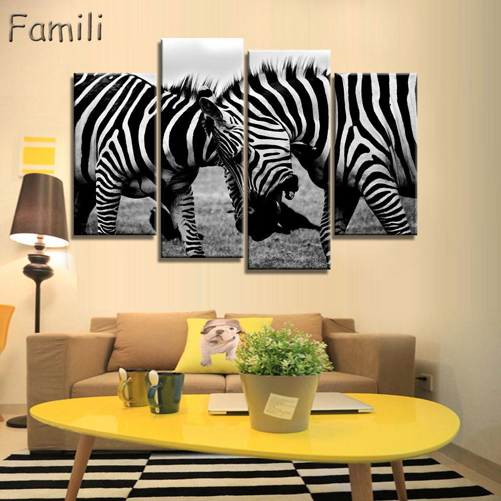 Mordern Canvas Painting Zebra Frameless Animal Art Poster Wall Horse ...