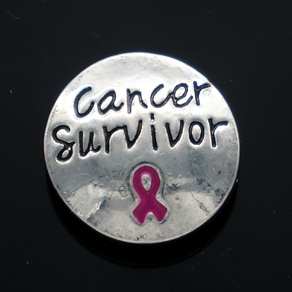 "Hot KZ1085 Charm ""Cancer Survivor"" 18mm snap buttons fit DIY DIY snap bracelet necklaces jewelry wholesale trendy"