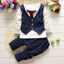 Spring Autumn Baby Infants Boys Roupas Long Sleeve Bowtie Gentlman T-shirt Tops+Long Plaided Pants 2pcs Clothing Sets Suit S5431