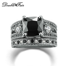 Top Quality Square Cut Black Nano Crystal Rings Sets Cubic Zirconia White Gold Plated Party Fashion Brand Women Jewelry DFR617