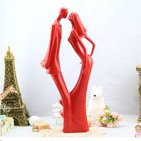 Supplies Gift Just Arrival Dancing Bride and Groom with Heart Couple Figurine Ceramic Wedding Cupcake Cake Topper 38*14
