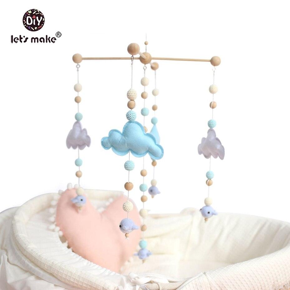 Faisons bébé berceau Mobile lit cloche hochet jouets en bois vent carillons tente suspendus bébé douche cadeau feutre baleine Montessori lit cloche