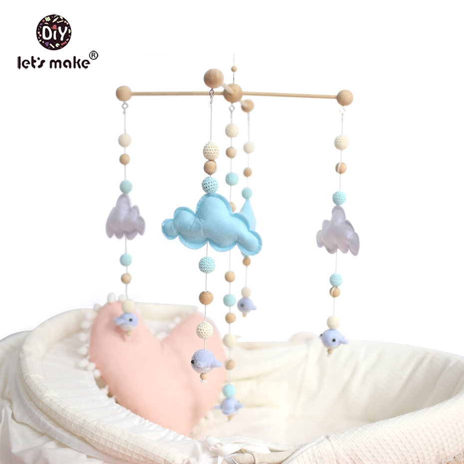 Let's make Baby Crib Mobile Bed Bell Rattle Toys Wooden Wind Chimes Tent Hanging Baby Shower Gift Felt Whale Montessori Bed Bell infant toys plush bed wind chimes crib hanging bells mechanical music box mobile bed bell toy holder