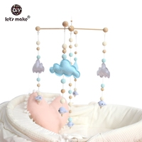 Let's make Baby Crib Mobile Bed Bell Rattle Toys Wooden Wind Chimes Tent Hanging Baby Shower Gift Felt Whale Montessori Bed Bell
