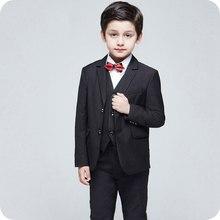 Custom Made Children Suits Spring Autumn Boys Blazer Party Gentlemens Flowers Lapel Casual Child Suit 3pcs (Vest + Coat+ Pants)