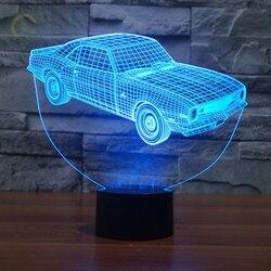 Kreatywny samochód lampka nocna z USB lampa 7 kolory Chaning 3D LED noc światła akrylowe atmosfera lampa nowość oświetlenie